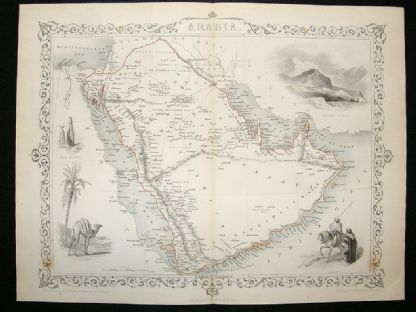 Arabia: 1852 Antique Map. Decorative. Tallis Rapkin | Albion Prints